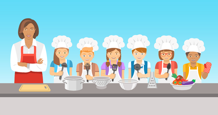culinary skills: Kids cooking class flat illustration. Group of happy fun children, boys and girls in chef hats and aprons with kitchen equipment, cook food with an adult.  Culinary education party with woman teacher
