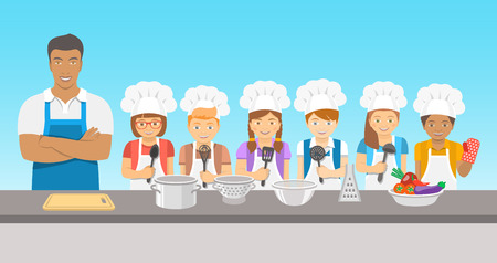 adult education: Kids cooking class flat illustration. Group of happy fun children, boys and girls in chef hats and aprons with kitchen equipment, cook food with an adult.  Culinary education party with man teacher