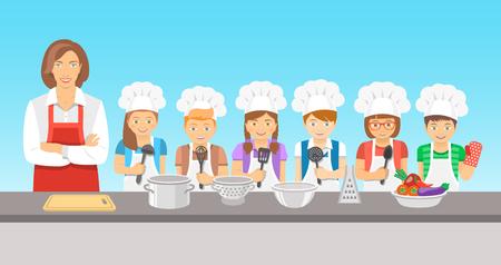 Enfants cours de cuisine illustration plat. Groupe heureux amusement des enfants, des garçons et des filles dans toques et tabliers avec matériel de cuisine, cuire les aliments avec un adulte. éducation culinaire partie avec le professeur de femme