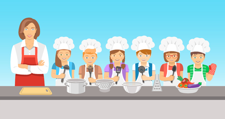 Kids cooking class flat illustration. Group of happy fun children, boys and girls in chef hats and aprons with kitchen equipment, cook food with an adult.  Culinary education party with woman teacher