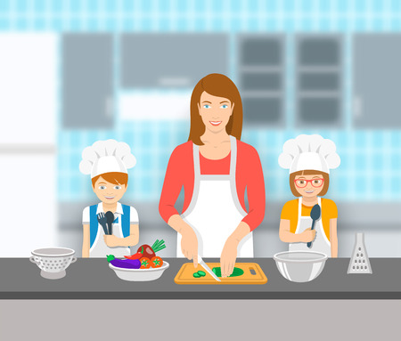 pastime: Mother and kids cooking together at a kitchen. Mom cuts vegetables for salad, happy little son and daughter help her. Family domestic pastime background. flat illustration