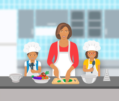 Mother and kids cooking together at a kitchen. Mom cuts vegetables for salad, happy little son and daughter help her. African American family domestic pastime background. flat illustration Illustration