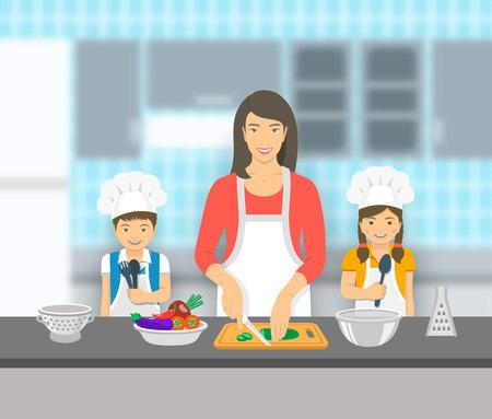 Matka i dzieci gotowania razem w kuchni. Mama cięcia warzyw na sałatki, szczęśliwy małego syna i córki jej pomóc. Azjatyckie rodziny rozrywką krajowej tła. płaskim ilustracji