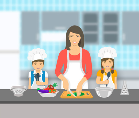 mom son: Mother and kids cooking together at a kitchen. Mom cuts vegetables for salad, happy little son and daughter help her. Asian family domestic pastime background. flat illustration