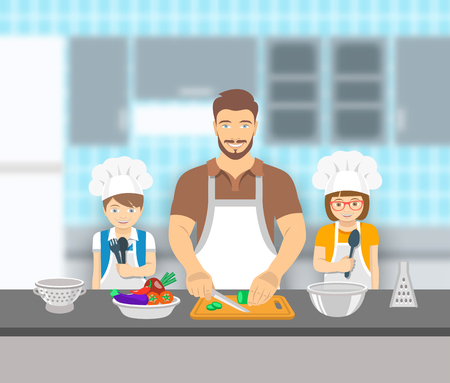 father and son: Father and kids cooking together at a kitchen. Dad cuts vegetables for salad, happy little son and daughter help him. European family domestic pastime background. flat illustration Illustration
