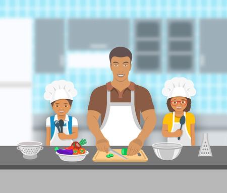 afroamericanas: Padre e hijos de cocinar juntos en una cocina. Papá corta las verduras para la ensalada, feliz pequeño hijo y la hija que le ayudan. familia americana de fondo pasatiempo nacional africano. ilustración plana