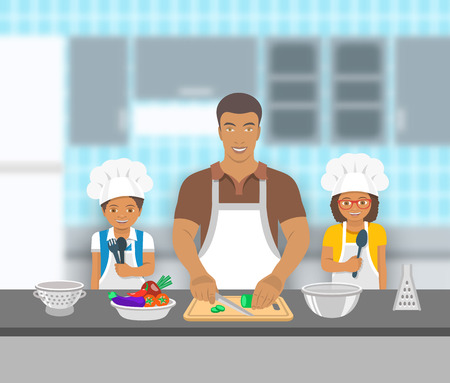 Father and kids cooking together at a kitchen. Dad cuts vegetables for salad, happy little son and daughter help him. African American family domestic pastime background. flat illustration