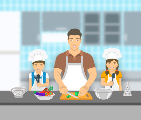 asian chef: Father and kids cooking together at a kitchen. Dad cuts vegetables for salad, happy little son and daughter help him. Asian family domestic pastime background. flat illustration