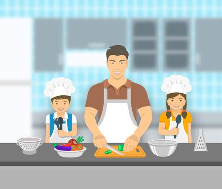 juntos: Padre e hijos de cocinar juntos en una cocina. Papá corta las verduras para la ensalada, feliz pequeño hijo y la hija que le ayudan. Familia asiática fondo pasatiempo nacional. ilustración plana