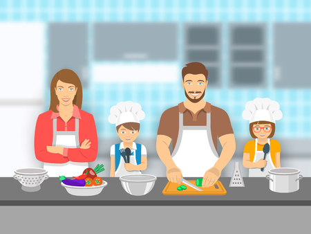 dad son: Mother,  father and kids cooking together at a kitchen. Dad cuts vegetables for salad, happy little son and daughter help him. Family domestic pastime background. flat illustration
