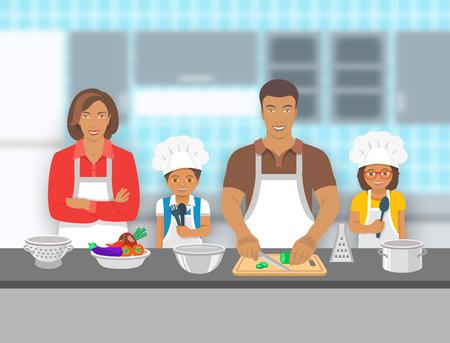 Madre, padre e figli cucinare insieme in una cucina. Papà taglia verdure per insalata, piccolo figlio felice e la figlia lo aiutano. African American famiglia passatempo sfondo. illustrazione piatta Vettoriali