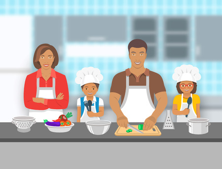 dad son: Mother,  father and kids cooking together at a kitchen. Dad cuts vegetables for salad, happy little son and daughter help him. African American family pastime background. flat illustration