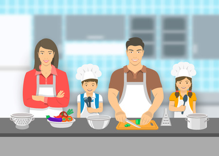 asian family: Mother,  father and kids cooking together at a kitchen. Dad cuts vegetables for salad, happy little son and daughter help him. Asian family domestic pastime background. flat illustration Illustration