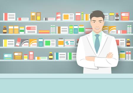Apotheker bij een balie in een apotheek tegenover de planken met medicijnen. Aziatische man leverancier in een drogisterij. Moderne flat medische illustratie. Healthcare achtergrond. Mensen beroepsontwerp