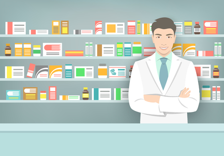 Pharmacist at a counter in a pharmacy opposite the shelves with medicines. Asian man vendor in a drugstore. Modern flat medical illustration. Healthcare background. People occupation design