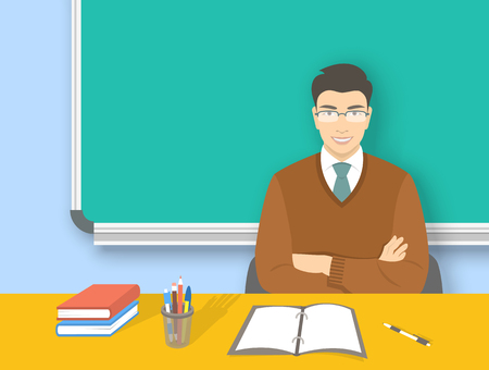 adult education: School teacher at desk flat education background. Young smiling asian man teacher with glasses sitting at table with books and pens in front of blackboard. Adult people cartoon character