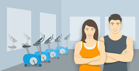 fitness center: Personal fitness trainers in gym. Smiling asian woman and man sport instructors in fitness room with exercise bikes. Promotional illustration of sport club, fitness center, individual training.