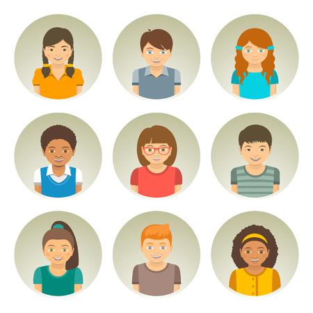 niños de diferentes razas: Los niños de diferentes razas redondas planas avatares. Feliz de raza blanca sonriente, niños y niñas de América y Asia africanos se enfrenta. personajes infantiles fotos de perfil. elementos de dibujos animados Retrato de infografía