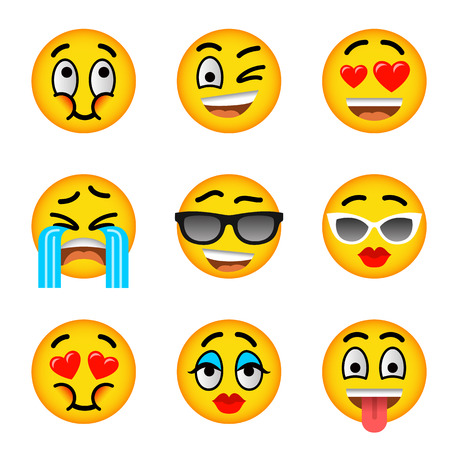 messenger: Smiley face flat vector icons set. Emoji emoticons. Facial emotions and expression symbols. Cute cartoon illustrations of mood and reactions for text chat and web messenger. Yellow ball character