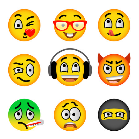 wrath: Smiley face flat vector icons set. Emoji emoticons. Facial emotions and expression symbols. Cute cartoon illustrations of mood and reactions for text chat and web messenger. Yellow ball character