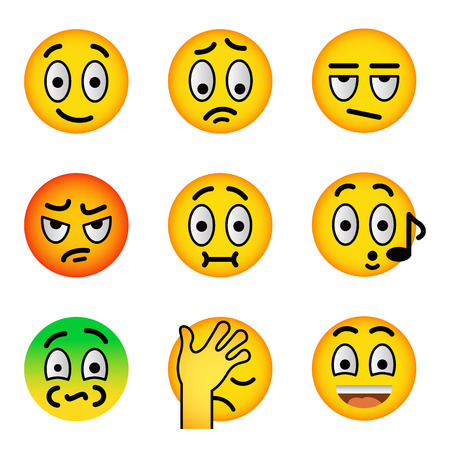 shame: Smiley face flat vector icons set. Emoji emoticons. Facial emotions and expression symbols. Cute cartoon illustrations of mood and reactions for text chat and web messenger. Yellow ball character