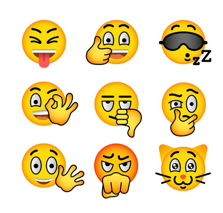 tease: Smiley face flat vector icons set. Emoji emoticons. Facial emotions and expression symbols. Cute cartoon illustrations of mood and reactions for text chat and web messenger. Yellow ball character