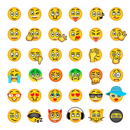 установить смайлик плоские векторные иконки. Emoji смайликов. Различные лица эмоции и выражение символов. Симпатичные карикатуры иллюстрации настроения и реакции для текстового чата и веб-мессенджера. Болл характер Иллюстрация