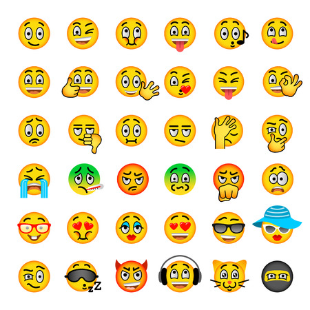 reactions: Smiley face flat vector icons set. Emoji emoticons. Different  facial emotions and expression symbols. Cute cartoon illustrations of mood and reactions for text chat and web messenger. Ball character