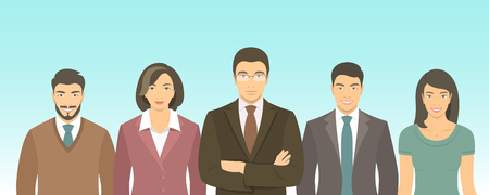 Business people group flat vector illustration. Successful team of young ambitious Asian men and women in business suits. Office staff employment concept. Leader with his team.  New business start up Illustration