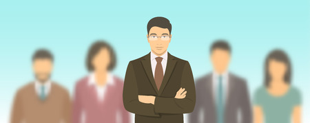 asian business team: Business people group flat vector illustration. Successful team of young ambitious Asian men and women in business suits. Office staff employment concept. Leader with his team.  New business start up Illustration