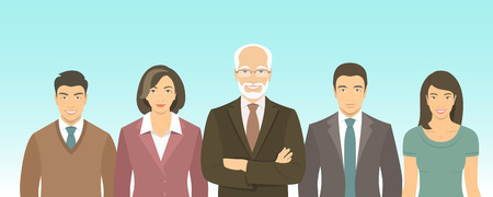 staffs: Business people group flat vector illustration. Successful team of young ambitious Asian men and women in business suits with a leader. Office staff employment concept. New business start up Illustration