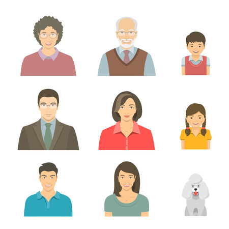 asian family: Asian family faces flat vector avatars set. Icons of three family generations, mother and father, sons and daughters, grandmother, grandfather and a dog. Family tree portraits infographic elements
