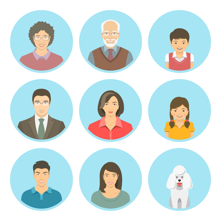 brothers and sisters: Asian family faces flat vector avatars set. Icons of three family generations, mother and father, sons and daughters, grandmother, grandfather and a dog. Family tree portraits infographic elements