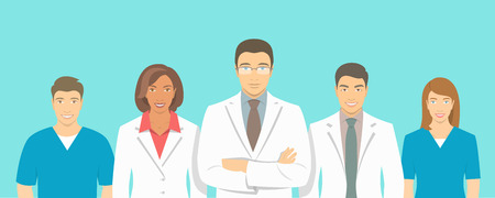 hospital staff: Medical clinic doctors team flat illustration. Group of healthcare specialists, physicians and nurses, men and women in white coats. Hospital staff horizontal background. Medical counseling