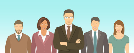 woman business suit: Business people group flat illustration. Successful team of young ambitious men and women in business suits. Office staff employment concept. Leader with his team. New business start up Illustration
