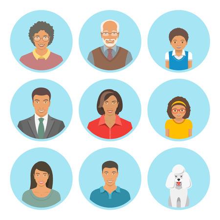 アフリカ系アメリカ人家族フラット アバター セットに直面しています。家族三代、母と父、息子、娘、祖母、祖父と犬のアイコン。黒い家族の肖像