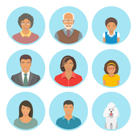 African American family faces flat avatars set. Icons of three family generations, mother and father, sons and daughters, grandmother, grandfather and a dog. Black family portraits Ilustração