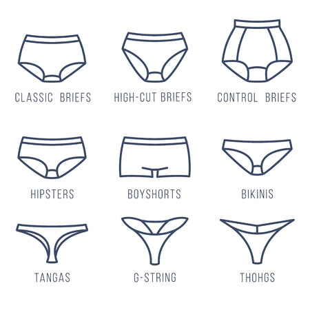 briefs: Female panties types flat thin line icons. Woman underwear fashion styles collection. Front view. Underclothes linear infographic design elements. Classic briefs, bikini, string, tanga, thong