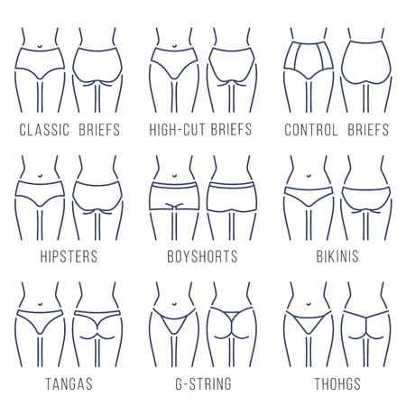 string bikini: Female panties types flat thin line icons set. Woman underwear fashion styles collection. Girl body front, back view. Clothes infographic design elements. Classic briefs, bikini, string, thong