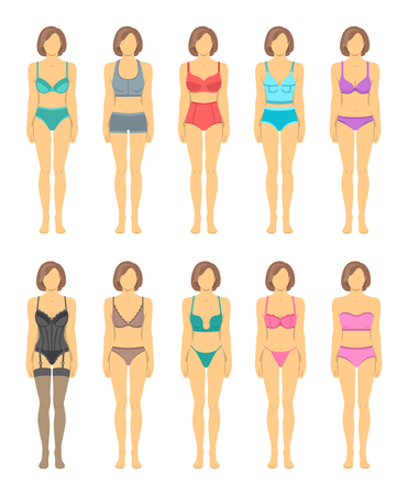 garments: Female figures in fashionable lingerie flat icons. Woman body in underwear front view. Various combinations of bra designs and panties styles. Full length model infographic elements. Wardrobe garments