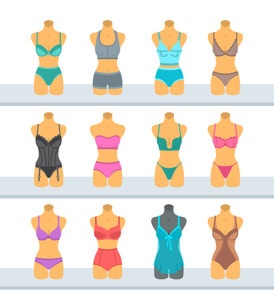 bra: Female mannequins display fashionable lingerie flat style illustration. Different woman torso models in underwear front view. Various combinations of bra designs and panties styles on plastic manikins