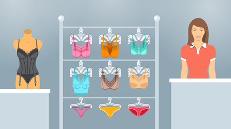 underclothing: Female underwear store flat illustration. Lingerie shop department interior design. Woman seller at a counter, bras and panties on hangers, a mannequin in a corset. Fashion boutique background