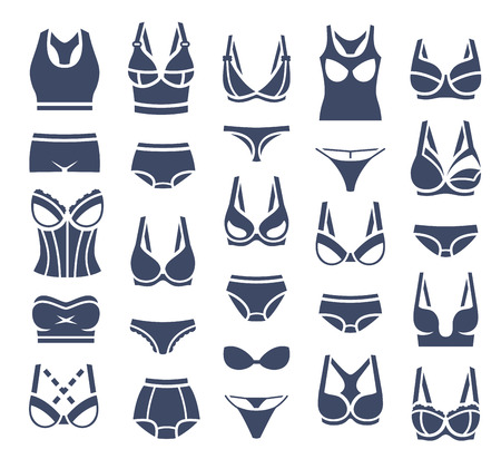 garments: Bra design and panties styles flat silhouette icons set. Female underwear pictogram collection. Lingerie fashion infographic elements. Woman wardrobe garments. Various clothes isolated symbols
