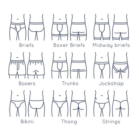 남성 속옷 유형 평면 라인 아이콘을 설정합니다. 현대 남자는 몸 모양에 패션 스타일을 간략히 설명합니다. 전면, 후면보기입니다. 선형 인포 그래픽