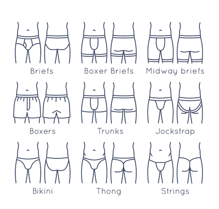 Male underwear types flat line  icons set. Modern man briefs fashion styles on torso figures. Front, back view. Underclothes linear infographic design elements. Isolated clothes pictogram