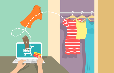 casual dress: Online shopping flat . Web store marketing concept. E-commerce background. Woman buys clothes on website using computer. Summer sales concept. Electronic commerce illustration Illustration