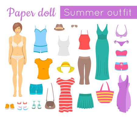 ropa de verano: juego de muñeca de papel para la chica. ilustración de estilo plano. Recortar una figura de una niña y su vestido en ropa de verano ocasional de moda y calzado. Las mujeres armario vacaciones de verano