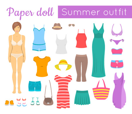 casual dress: Paper doll game for girl. flat style illustration. Cut out a figure of a young girl and dress her up in fashionable casual summer clothes and footwear. Women summer vacation wardrobe Illustration