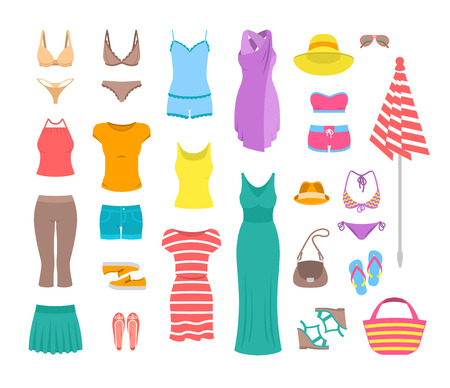 top hat cartoon: Summer female outfit flat icons. Women clothes and accessories collection for summer vacation. Casual fashion infographic elements. Basic tops, skirt, shorts, shoes, dresses, beach clothing