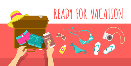 packing suitcase: Summer vacation flat illustration. Packing beach stuff for summer time travel. Woman puts in suitcase summer clothes, swimsuit, flip-flops, hat, glasses, camera and passport. Top view banner Illustration